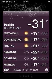 """Ungemütlich: Harbin hat eine Jahresdurchschittstemperatur von 0 Grad und wirbt offiziell mit """"kühlen Sommern"""""""